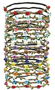 G Ganen Set of 12 Mix Color Mini Flower Crown Headband /Halo/ /Edc /Hippie Flower Headband /Garden Party / Wedding (12 PCS) by Mhysa