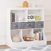 UTEX Toy Storage Organizer with Bookcase, Kid's Bin Storage Unit with 8 Compartments &3 Baskets Bins, Toys Box Organizer…