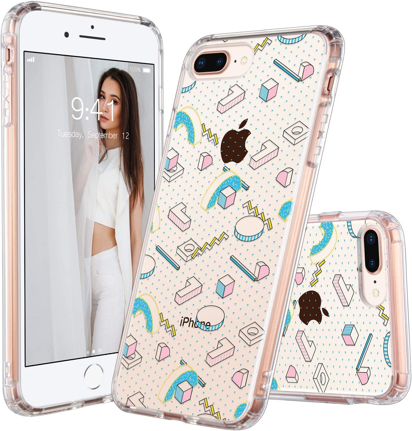 ULAK iPhone 7 Plus Case, iPhone 8 Plus Case Clear with Design Flexible Soft TPU Bumper Shock-Absorption Anti-Scratch Bumper Hard Back Cover for iPhone 7 Plus/8 Plus 5.5 inch (3D Shapes)