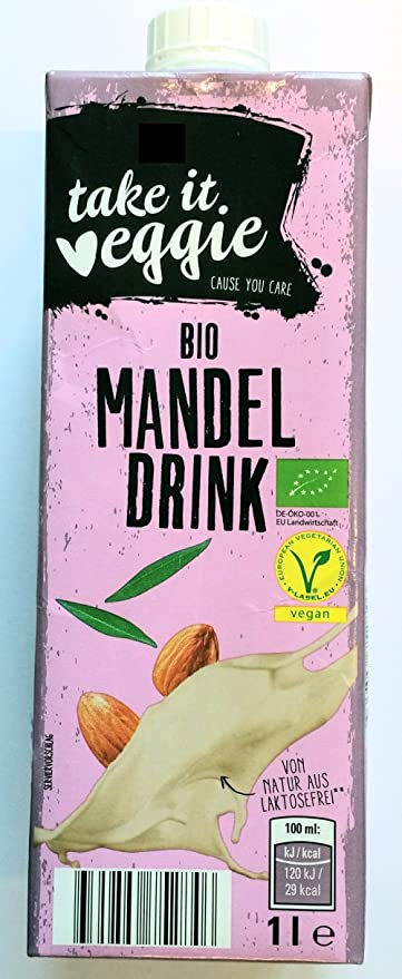 Bio almendra Leche Drink 10 x 1 l) laktosefrei Vegan Take it Veggie