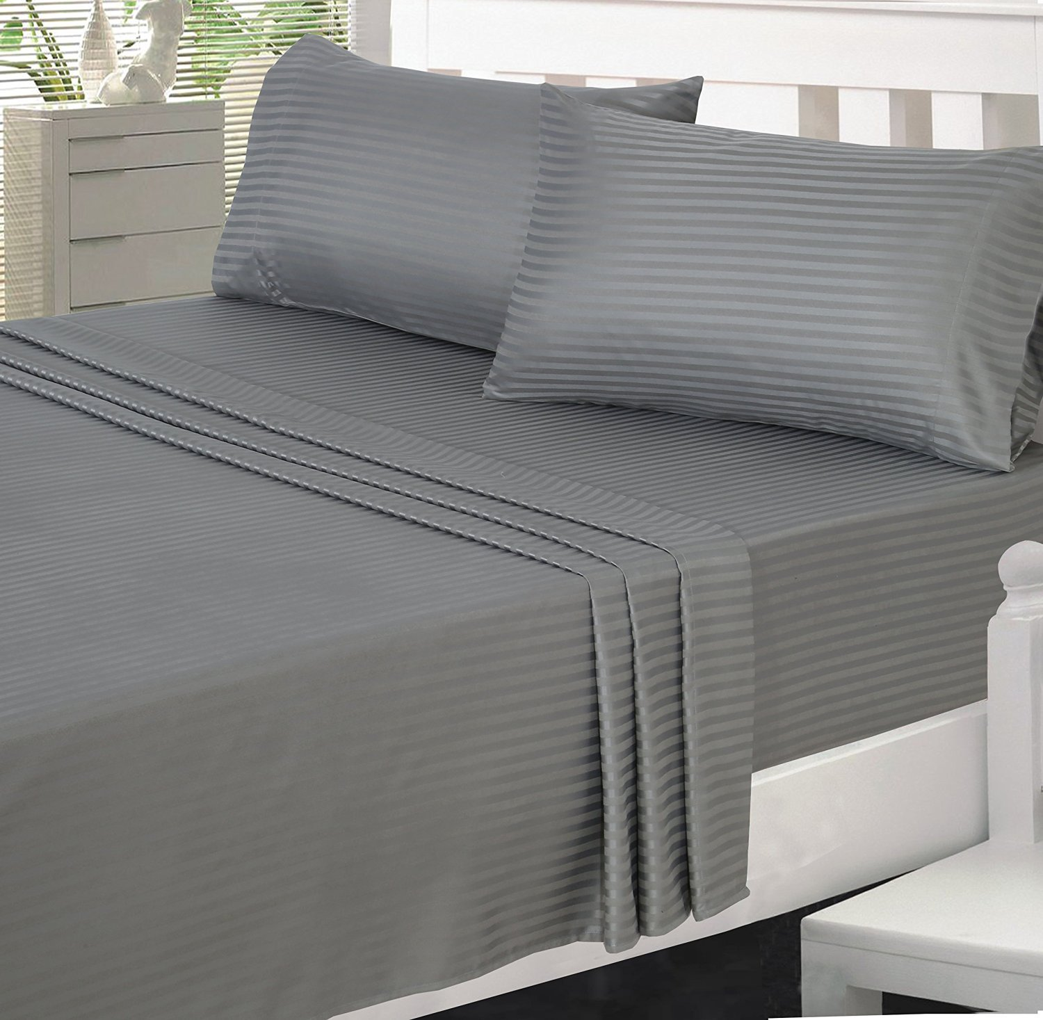 Amazon.com: Utopia Bedding Microfiber Striped Bed Sheet Set With Deep  Pockets Queen, Grey: Home U0026 Kitchen