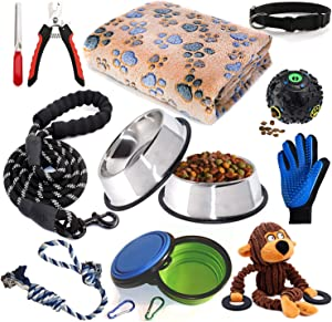 Puppy Starter Kit,12 Piece Dog Supplies Assortments,Set includes:Dog toys   Dog Bed Blankets   Puppy Training Supplies   Dog Grooming Tool   Dog Leashes Accessories   Feeding & Watering Supplies