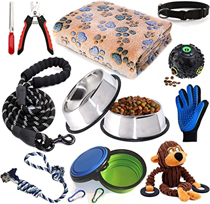 Dog Bowls Waste bag dispenser. Puppy Training Supplies Set Includes: Dog Toys Dog Bed Dog Leash//collar Small dog//puppy starter kit Dog Grooming 11 Piece Dog Supplies Assortments