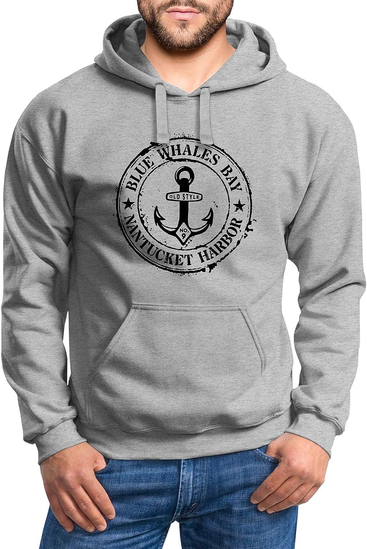 Neverless® Hoodie Herren maritimes Anker Motiv Anchor Print Vintage Stil Kapuzen-Pullover Männer Vintage Anker Grau