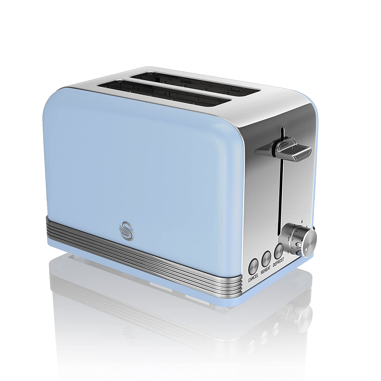 Swan ST19010BLN Retro 2 Slice Toaster, Blue