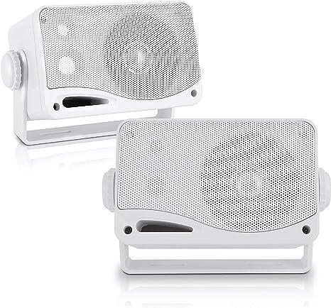 Pyle Wasserdichte Lautsprecher 3 5 Zoll 200 Watt 3 Wege Wetterfeste Mini Box Weiß Plmr24 Audio Hifi