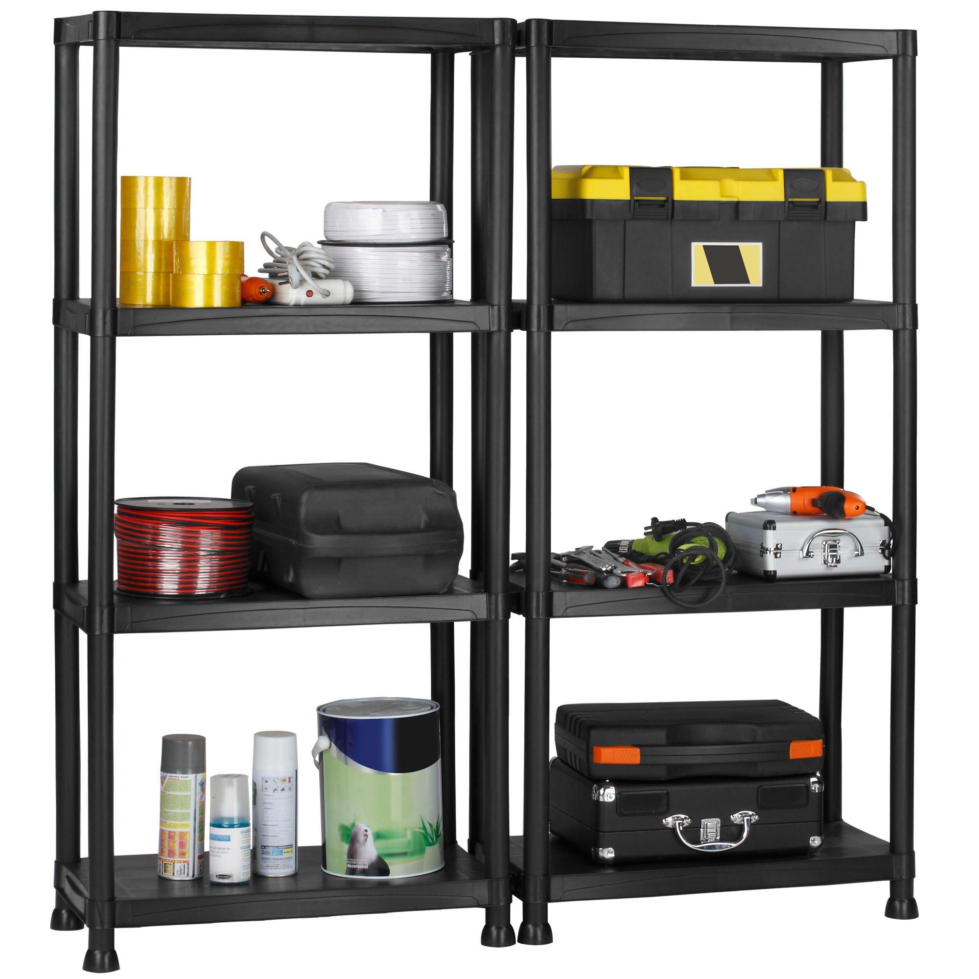 VonHaus 4 Tier Garage Shelving Unit with Wall Brackets (Pack of 2) - Black Plastic Interlocking Utility Storage Shelves - Each Unit: 52 x 24 x 12 inches