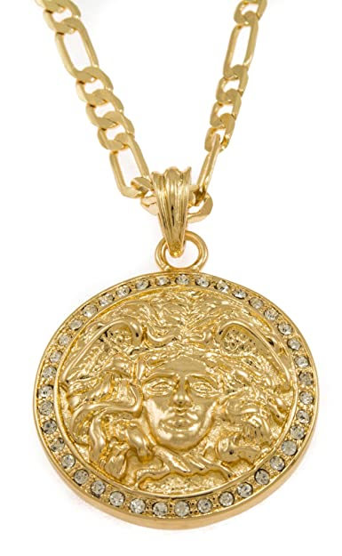 Amazon hip hop bling iced gold tone medusa head pendant hip hop bling iced gold tone medusa head pendant necklace free 24quot mozeypictures Image collections