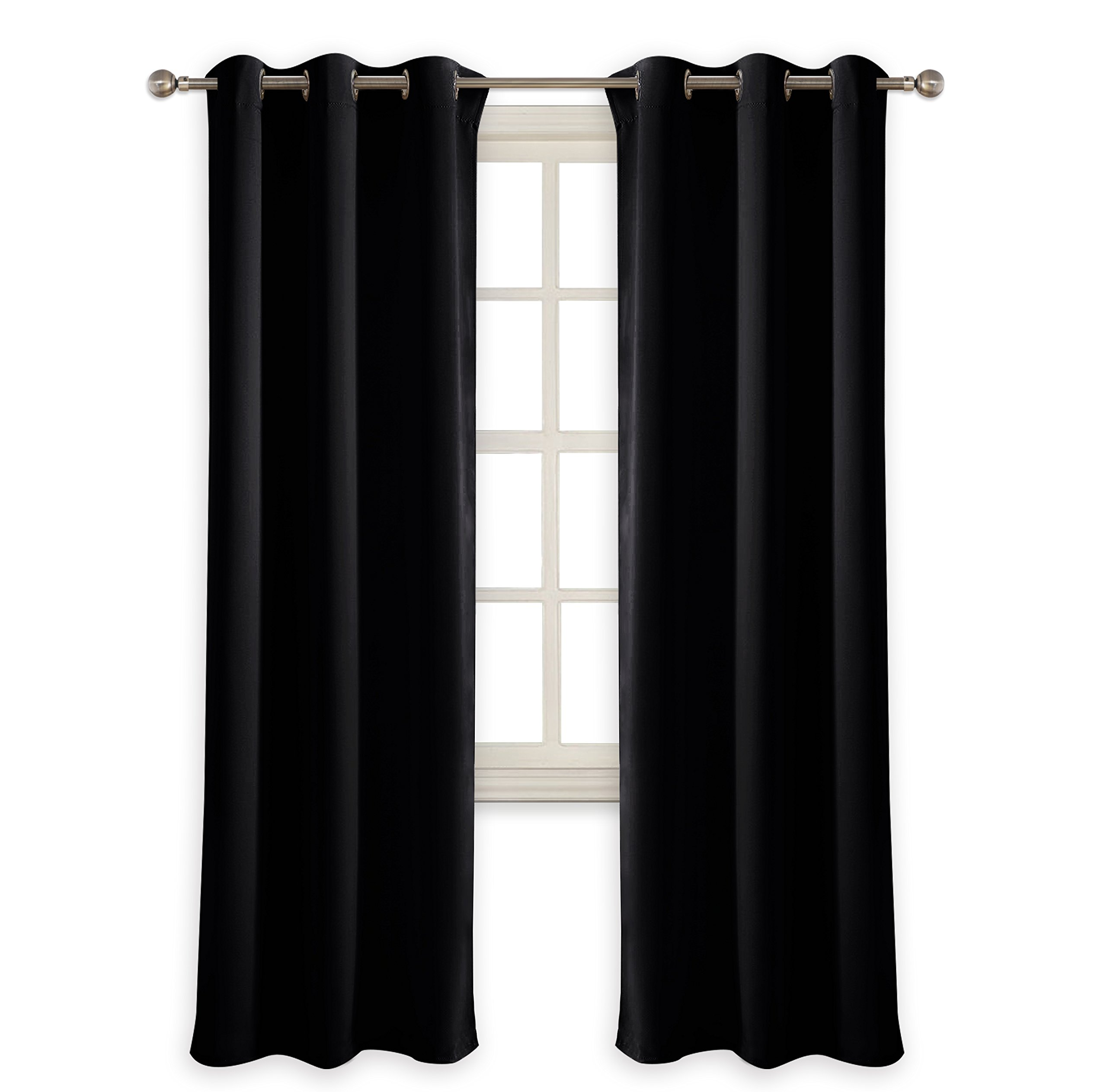 PONY DANCE Bedroom Window Curtains - Blackout Dark Curtain Panels Energy Saving Light Blocking Thermal Drapes/Home Decoration Modern for Kids Nursery Good Sleep, 42 Wide by 72 in Long, Black, 2 Pcs