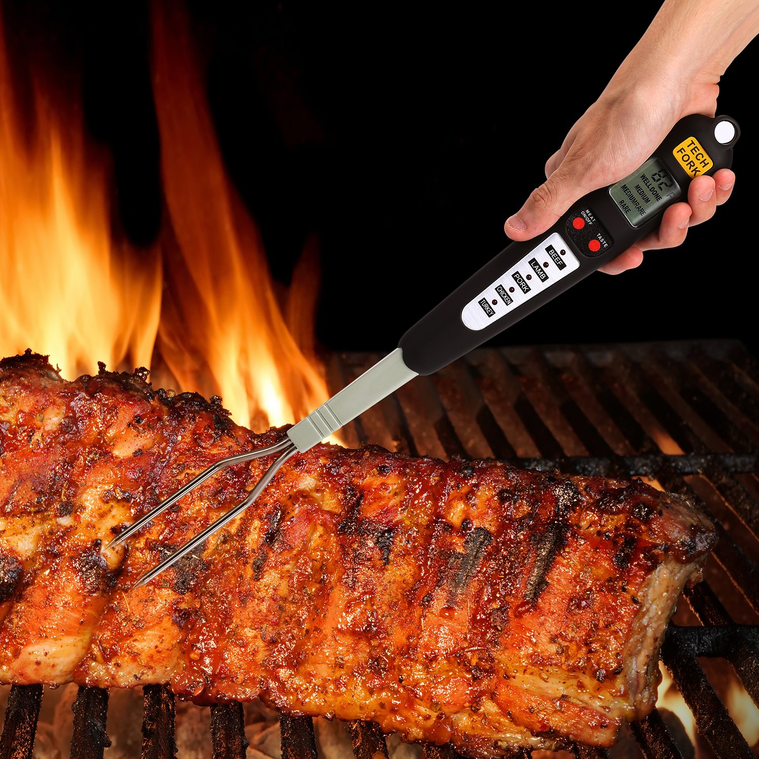 Barbestar Digital Meat Thermometer for Grilling with Long Fork,Instant Read BBQ Cooking Thermometer with LED Screen, Ready Alarm (Black) by Barbestar (Image #5)