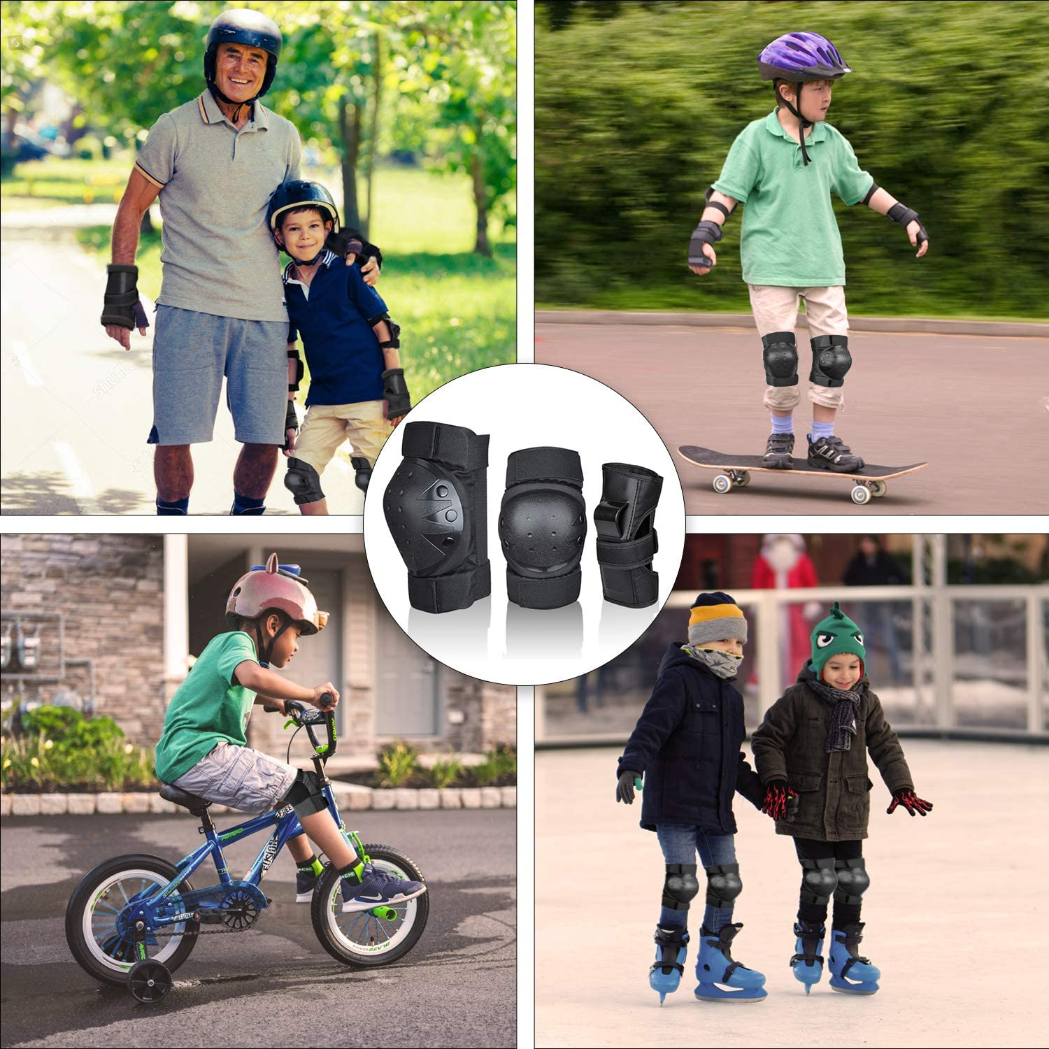 Deacroy Adult//Child Knee Pads Wrist Guards Elbow Pads 6 in 1 Protective Gear Set for Volleyball Inline Roller Skating Skateboarding Cycling Scooter Ski