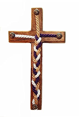 Rustic Cross Wood Jesus Wall Art Cord Of Three Strands