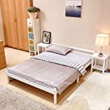 GreenForest Pine Bed 4'6ft Wooden Bed Frame White