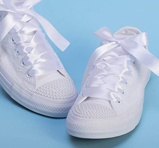 93dbc7a2668 Amazon.com: White Pearl Wedding Sneakers For Bride, Lace Bridal ...