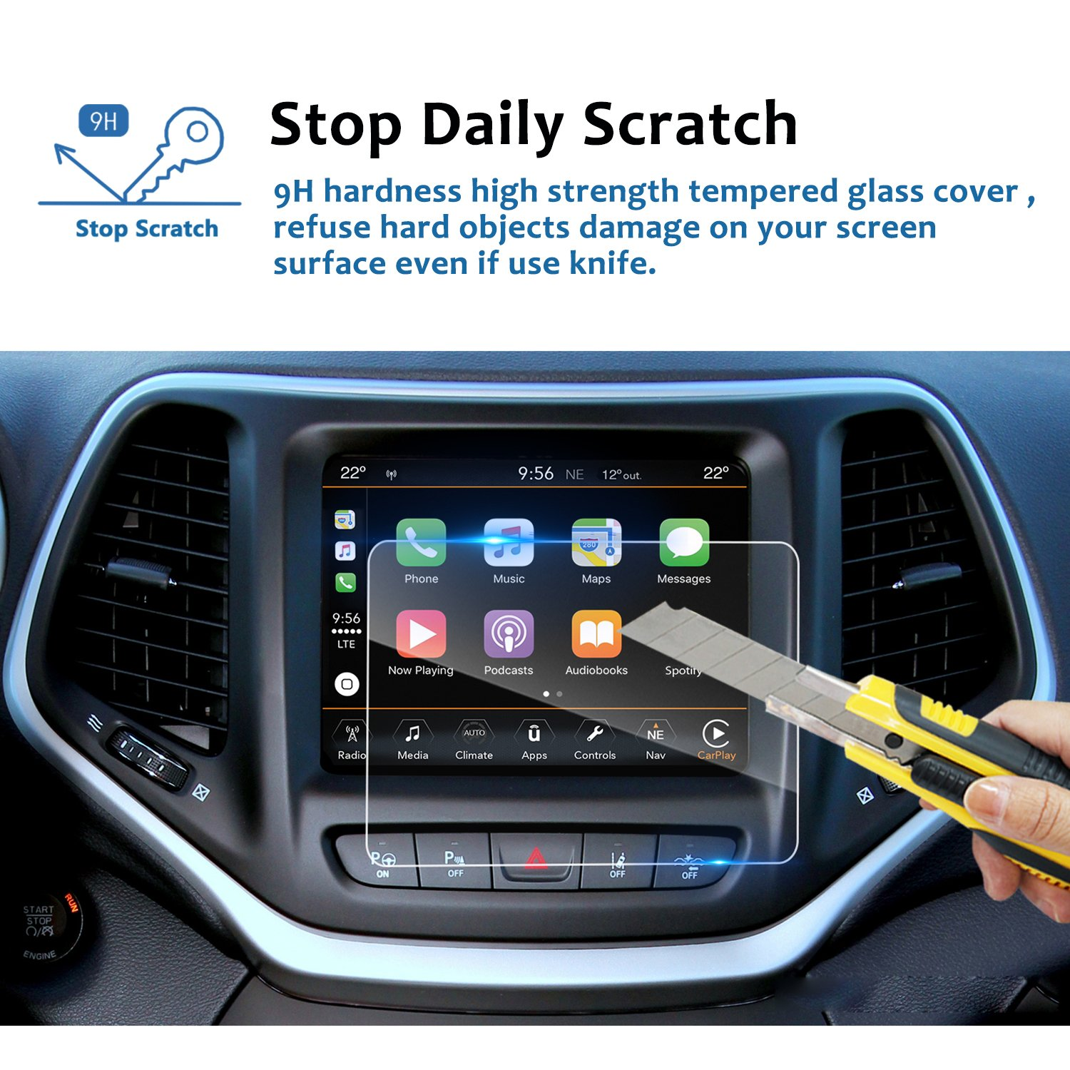 LFOTPP Tempered Glass In-Dash Clear Screen Protector LiFan 4347649816 2019 Jeep Cherokee 7 Inch Center Touch Screen Protector