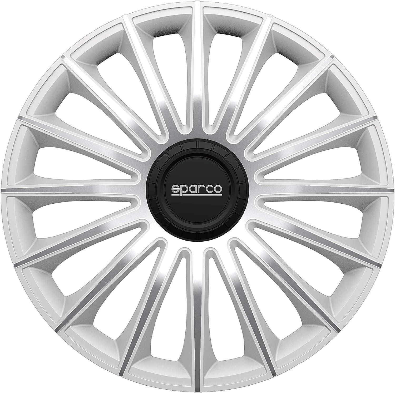 Set di 4 Sparco SPC1593BKSV Copricerchi Argento 15