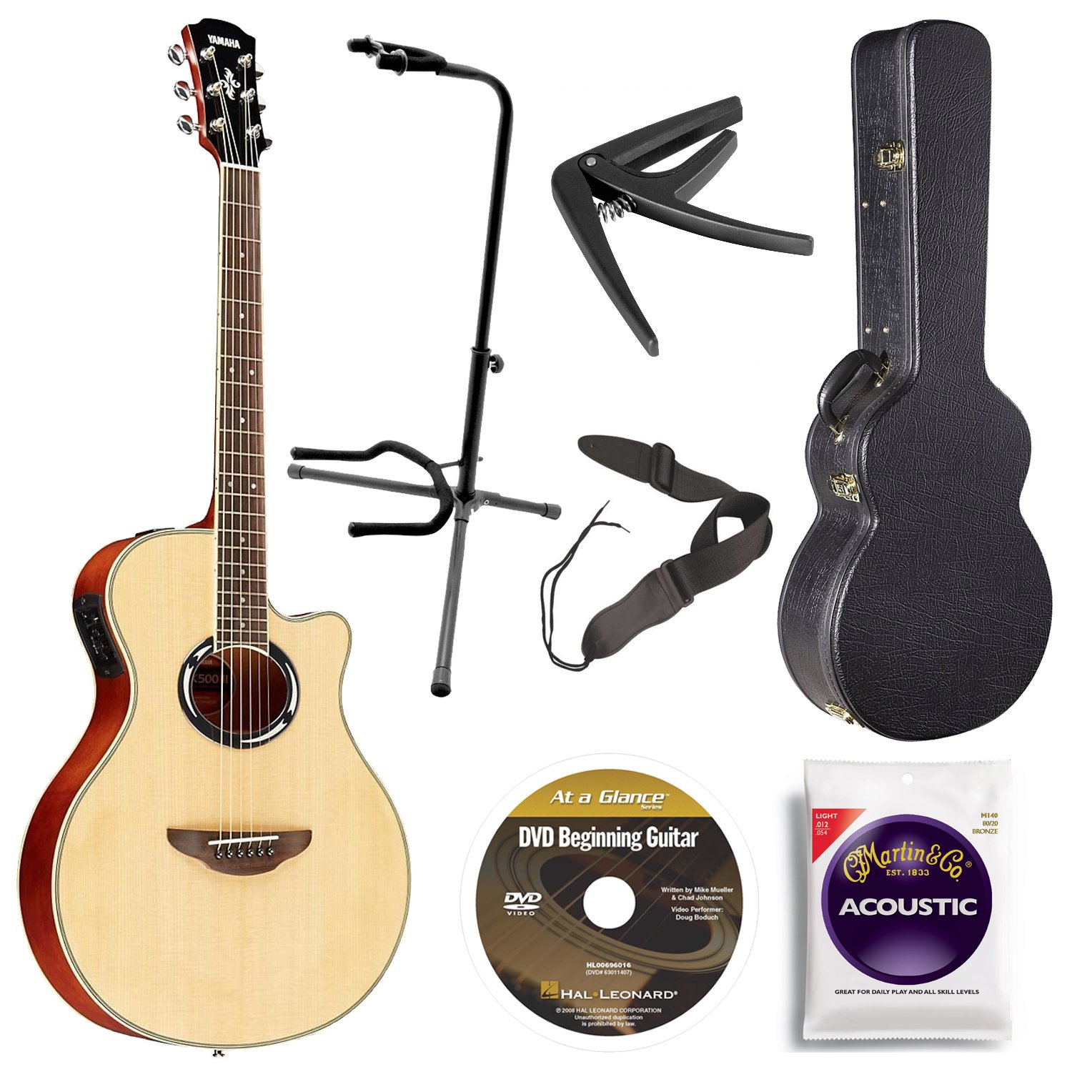 Yamaha APX500III NA Thin Line Acoustic Electric Cutaway Guitar, Natural Bundle with Hardshell Guitar Case, Guitar Stand, Beginner DVD, Strap, Capo and Guitar Strings
