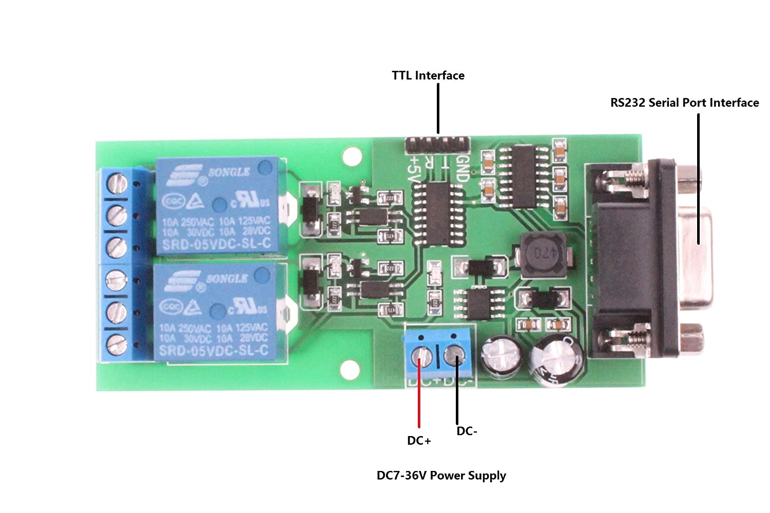 Microcontroller Serial Communication 2 Channel Relay Rs232 Port Pic Programmer Module Ttl Interface Computer Control Switch Plc Computers Accessories