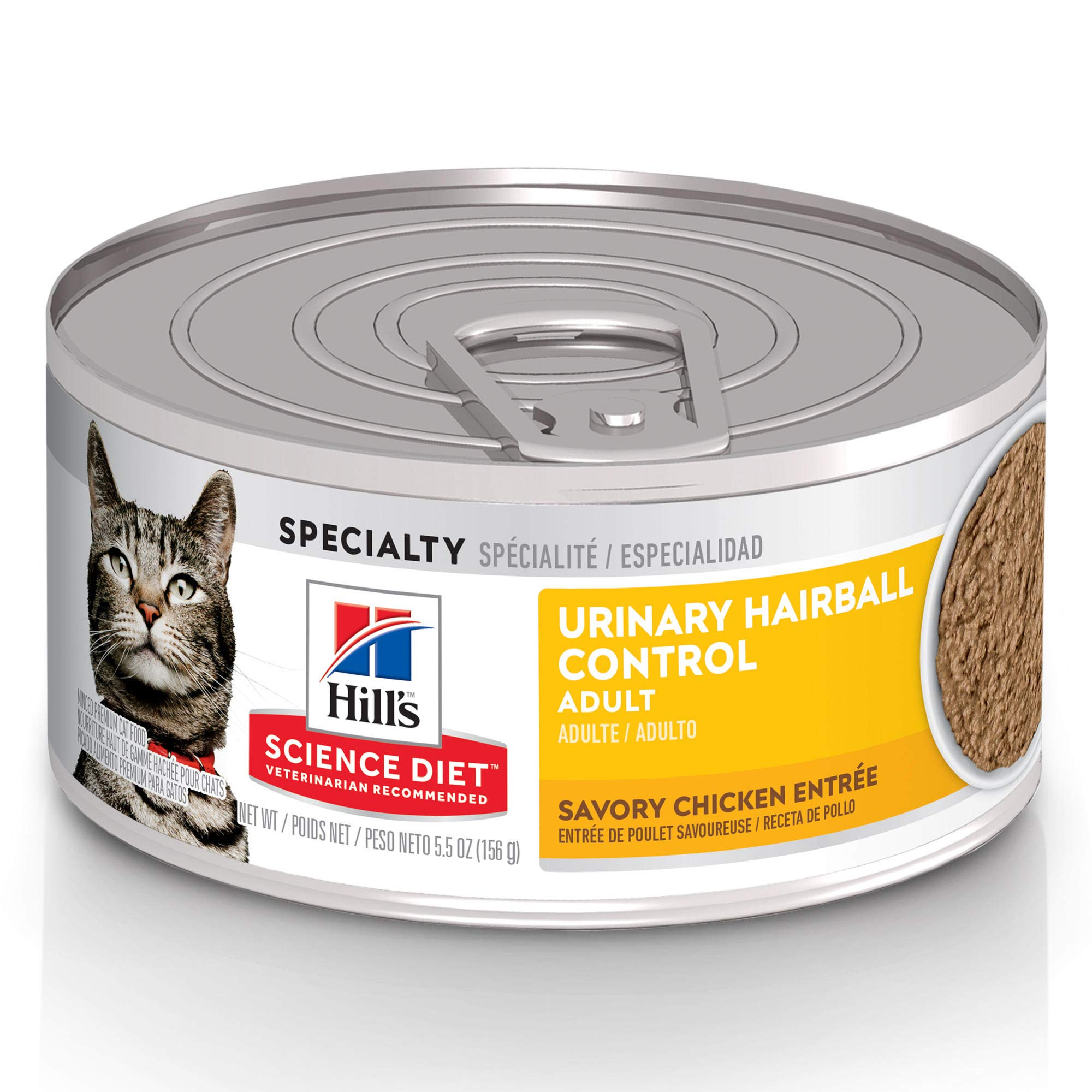 Hill's Science Diet Wet Cat Food, Adult, Urinary & Hairball Control, Savory Chicken, 24-pack
