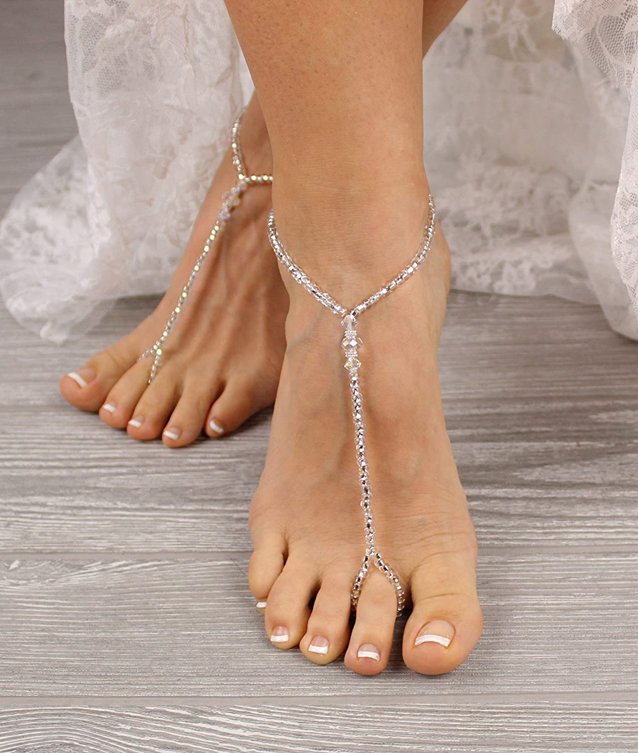 Beach wedding sandals bridal barefoot crocheted sandals Dainty summer anklet foot jewelry legwear white lace bridesmaid beach anklets