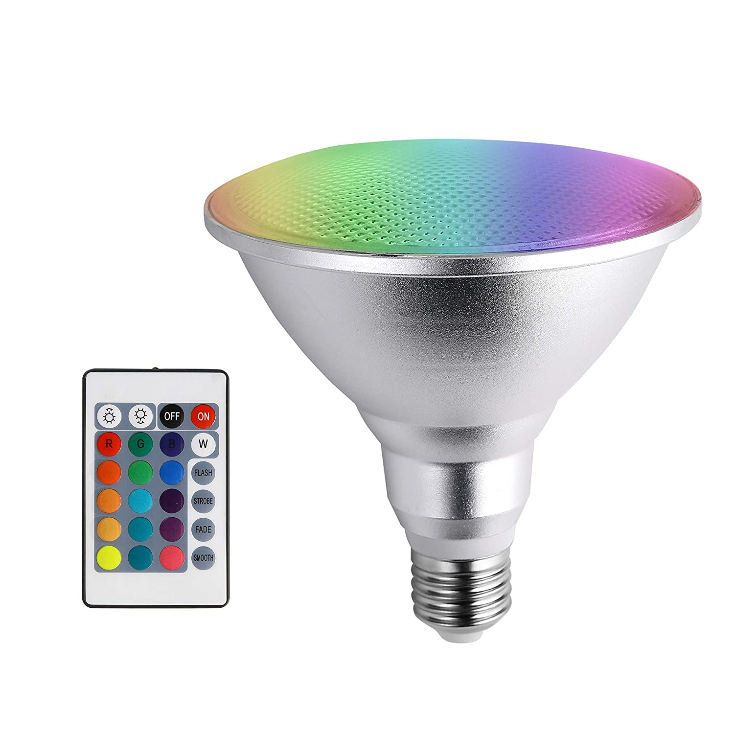 Led Spotlight E27 PAR38 20W RGB Colored Light Bulb 16 Color Changing with IR Remote Control for Home, Living Room, Party Decoration Waterproof Outdoor Floodlight (20W PAR38 RGB)