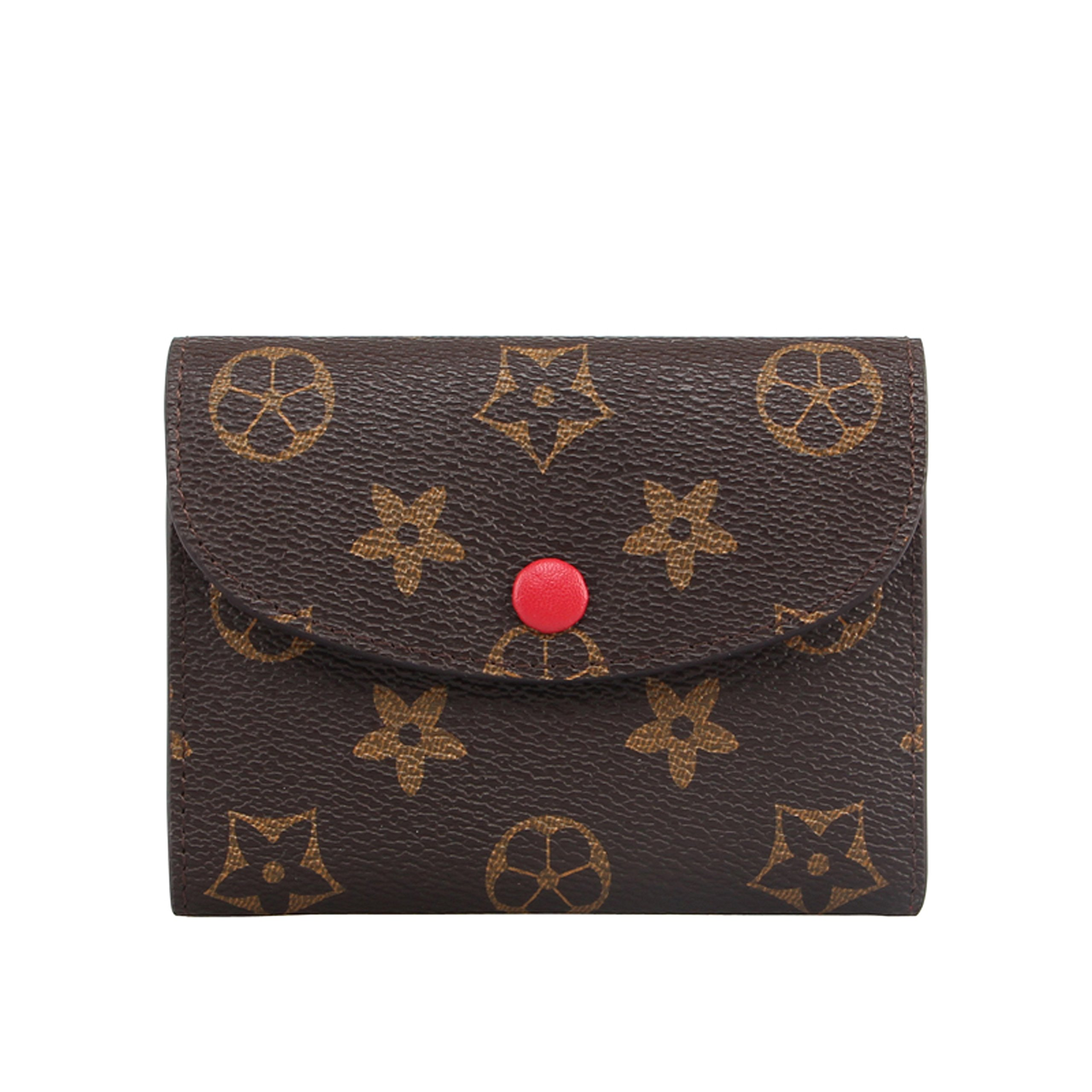 SUNNY Famous Brand Womens Monogram Canvas Wallet on Sale Mini Credit Card Case Flower Designer Purse Card Holder (red)