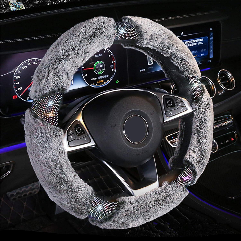 KAFEEK Diamond Fluffy Microfiber Plush Steering Wheel Cover with Bling Bling Crystal Rhinestones for Winter Warm, Universal 15 inch Fuzzy Steering Wheel Cover,Gray