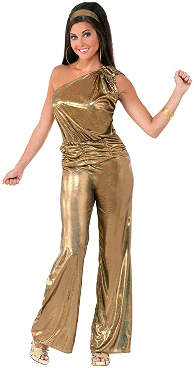 70s Jumpsuit | Disco Jumpsuits, Sequin Rompers Forum Novelties Womens Solid Gold Lady Disco Costume $32.13 AT vintagedancer.com