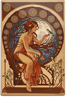 product image for Lantern Press Woman and Bird, Art Nouveau (12x18 Aluminum Wall Sign, Wall Decor Ready to Hang)
