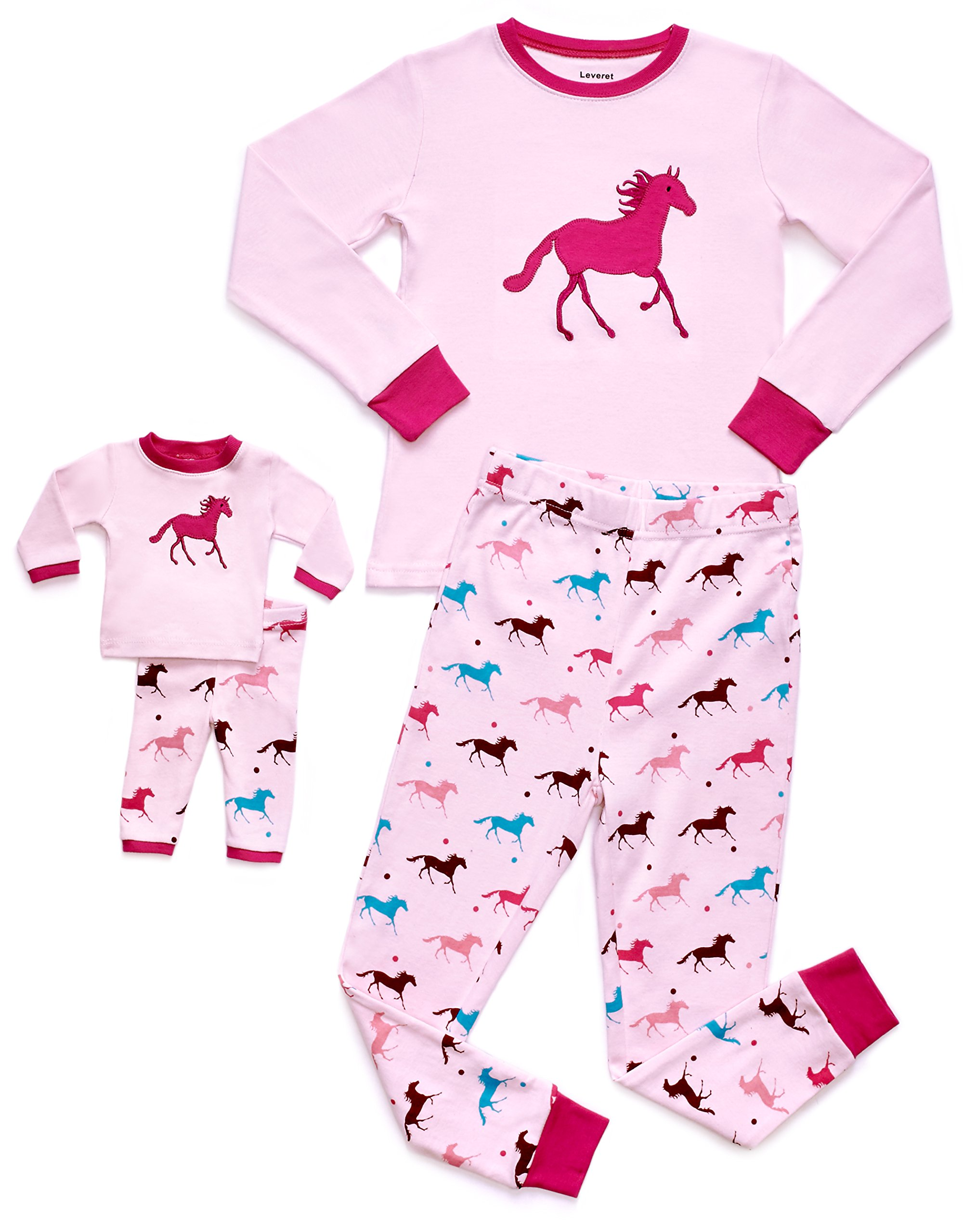Leveret Horse Matching Doll & Girl 2 Piece Pajama Set 100% Cotton 8 Years