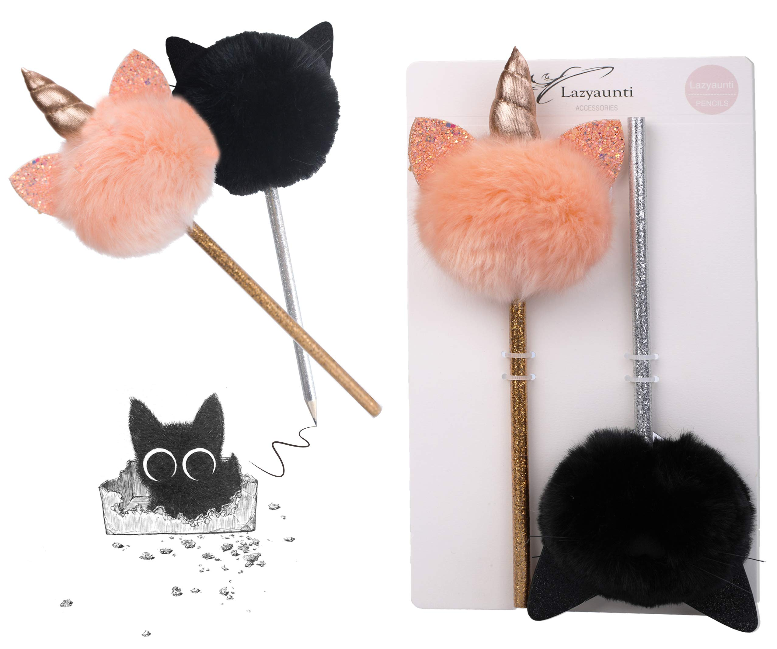 Lazyaunti Cute Fluffy Pencils for Kids Fancy Fun Pencil Toppers Plush Ball Classroom Gift PersonalizedSchoolSupplies for Girls (Black Cat)