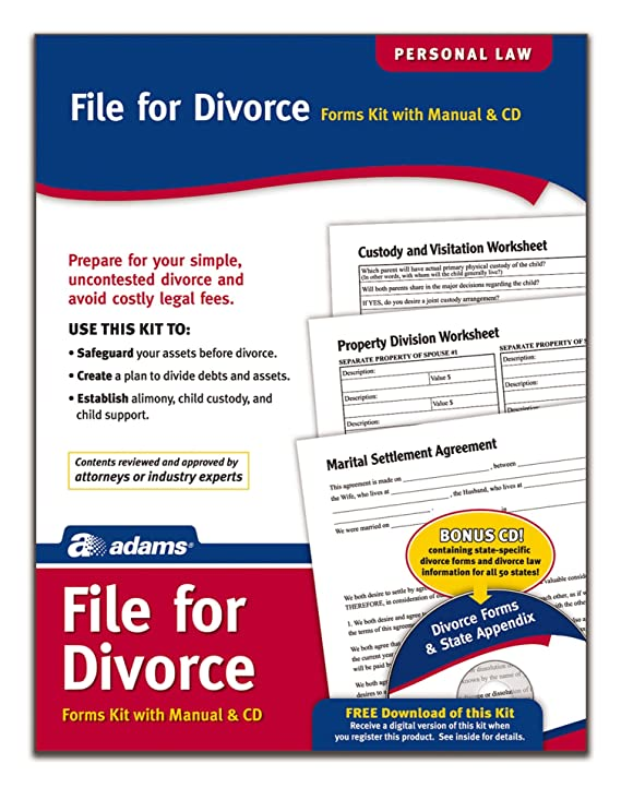 Adams Divorce Kit, Forms and Instructions, Includes CD (K302)