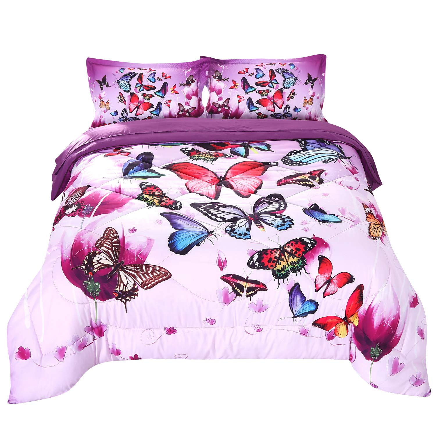 Wowelife 3D Purple Butterfly Comforter Queen Upgraded Print Beautiful Butterfly Groups in 5 Piece with Comforter, Flat Sheet, Fitted Sheet and 2 Pillow Cases (Playing Butterfly, Queen)