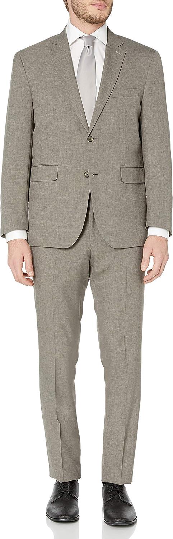 Louis Raphael Mens Slim Fit Two Button Side Vent Sharkskin Solid Suit
