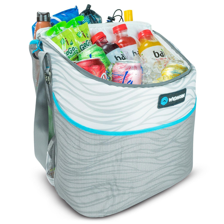 Wildhorn Tortuga Beach Tote Kühltasche Isoliertes Kühlfach für 24 Dosen, großer Stauraum mit Kordelzug, Netztasche außen.