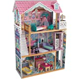 KidKraft Annabelle Wooden Dollhouse with Elevator, Balcony and 17 Accessories, Gift for Ages 3+