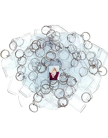 50 Llaveros con Marco para Fotos Acrílico Transparente por Kurtzy - Llavero en Blanco de 5