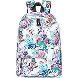 Leaper Floral Backpack Women College School Bookbag Travel Daypack Beige