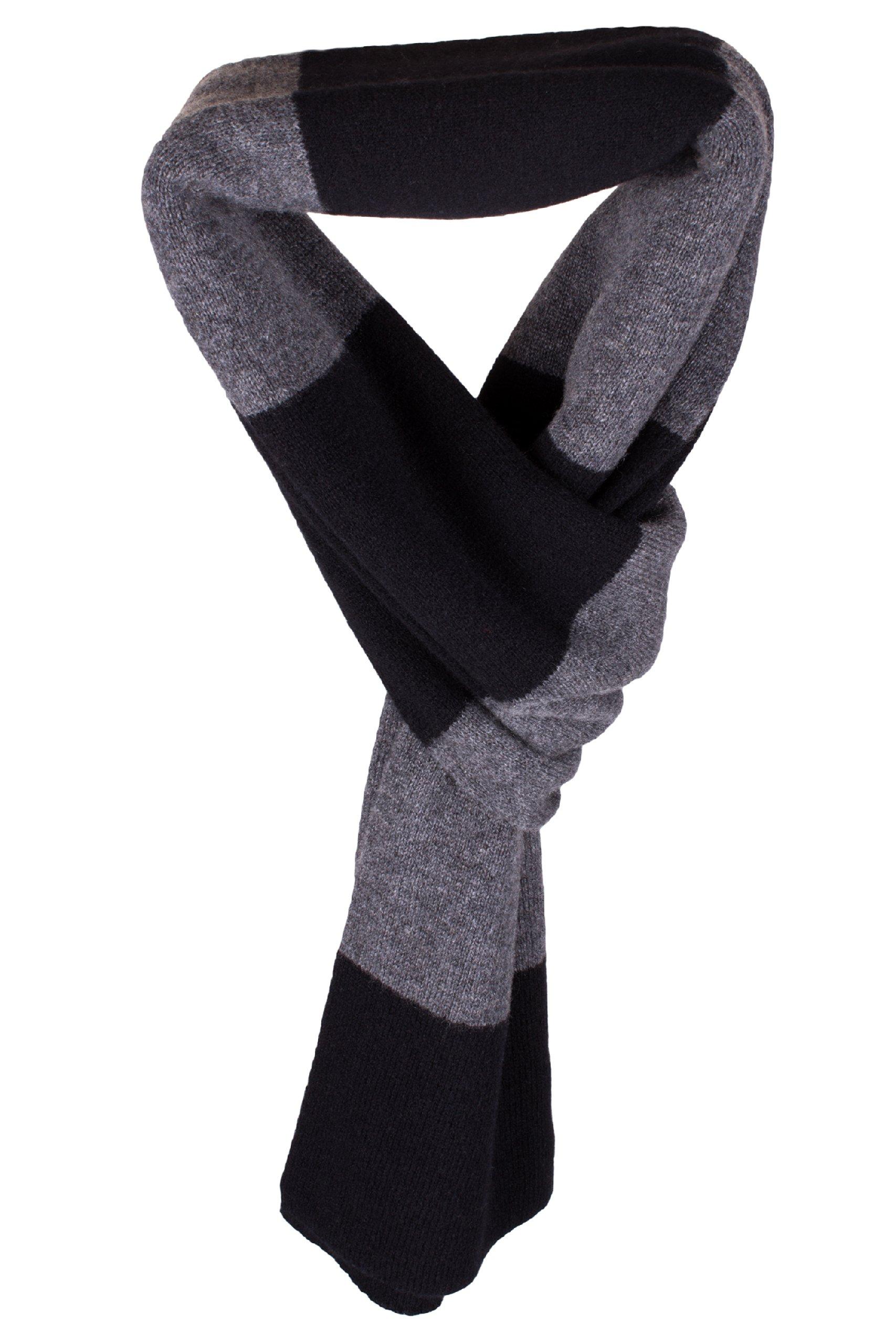 Mens Striped 100% Cashmere Scarf - Black / Dark Gray - hand made in Scotland by Love Cashmere