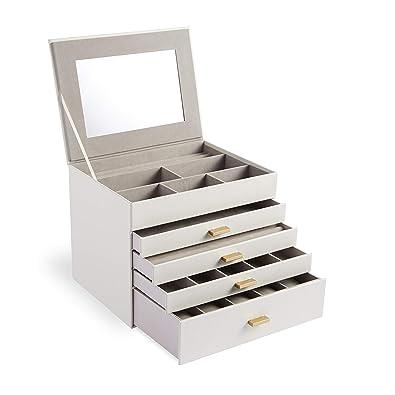 7bbef8b10 Beautify Caja de Joyería de Cuero Sintético Blanco de 5 Niveles - Gran  Organizador / Caja de Almacenamiento ...