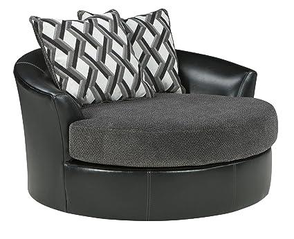 Amazing Benchcraft Kumasi Contemporary Oversized Swivel Accent Chair   Smoke Gray