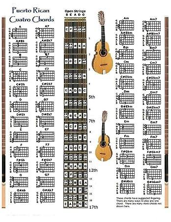 Amazon Puerto Rican Cuatro Chords Chart Musical Instruments