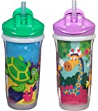 Playtex Sipsters Stage 3 Spill-Proof, Leak-Proof, Break-Proof Insulated Straw Sippy Cups for Boys and Girls - 9 Ounce - 2 Count