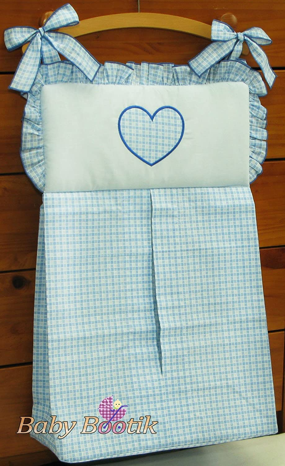 NAPPY STACKER/DIAPER BAG MATCH BABY NURSERY COT/COT BED BEDDING - HEARTS BLUE Babycomfort