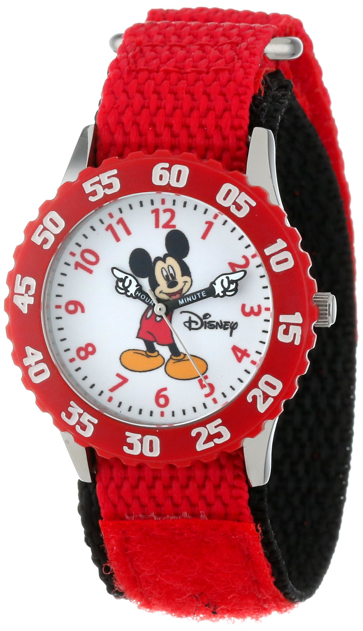Disney Kids' W000229 Mickey Mouse Stainless Steel Time Teacher Watch with Red Nylon Band by Disney