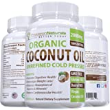 Organic Coconut Oil Capsules/Pills 2000mg/Serving Virgin Cold Pressed Non GMO for Weight Loss, Extra Hair Growth and Healthy Skin. Unrefined Pure Coconut Oil Best Source of MCFA. 60 Servings/Bottle