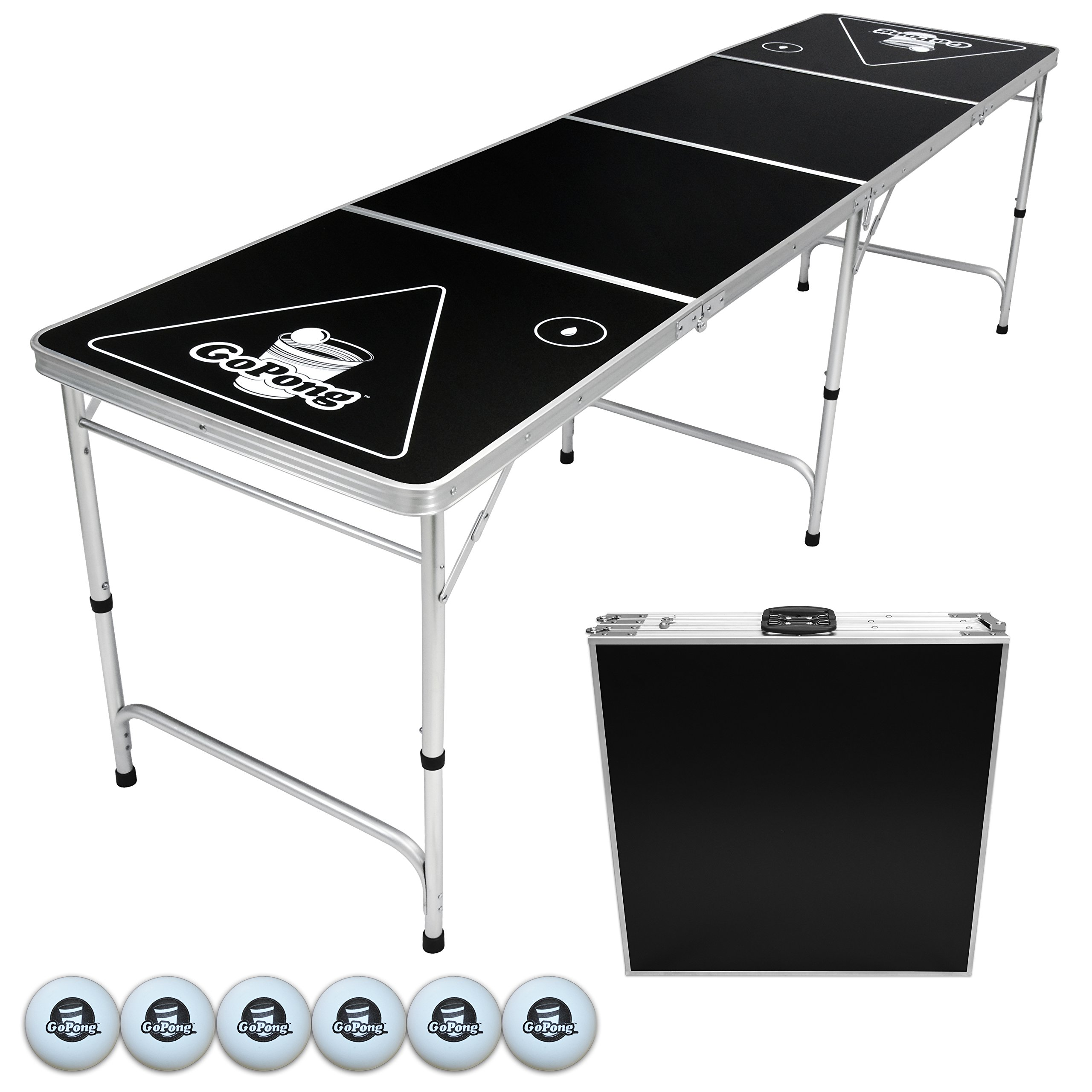 GoPong 8-Foot Portable Folding Beer Pong / Flip Cup Table (6 balls included) by GoPong