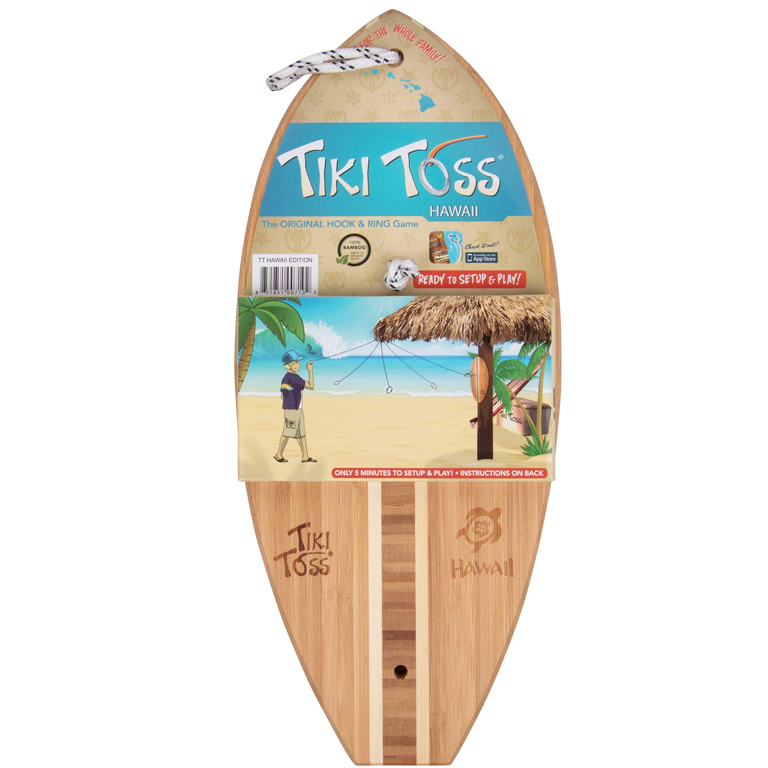 Tiki Toss Hook and Ring Toss Game - 100% Bamboo Only 5 Minutes to Setup - All Parts Included (Hawaiian Edition) Assorted by Tiki Toss (Image #3)
