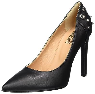 Scarpad.anne100 Vitello PU Nero, Zapatos de Tacón para Mujer, Negro (Black/Nickel), 38 EU Love Moschino
