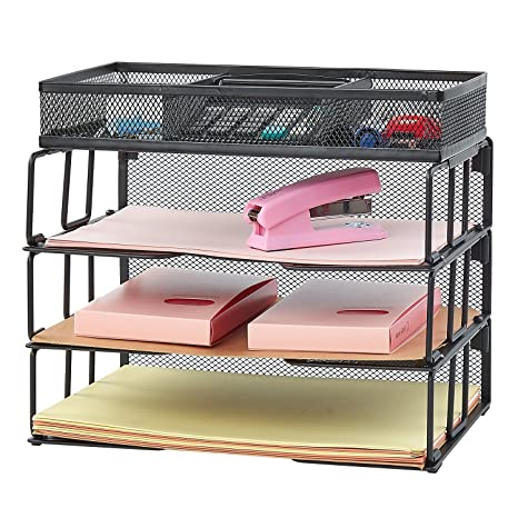 Reliatronic Mesh Office Desk File Letter Tray Organizer With 3 Stackable  Trays And A Sorter,